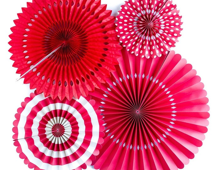 Red Rosettes Party Decorations for Valentines, Red Pom Wheel, Paper Medallions, Red and White Paper Fans, Paper Pinwheel, Red Backdrop