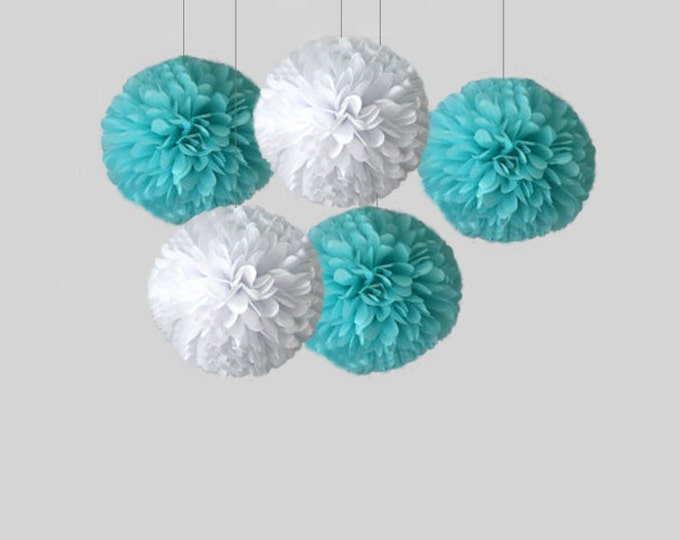 """Tiffany blue poms, Aqua pom, Blue set of tissue paper pom poms, 18"""" pom, Tiffany blue poms, Tiffany Wedding Decor, aqua dirthday"""