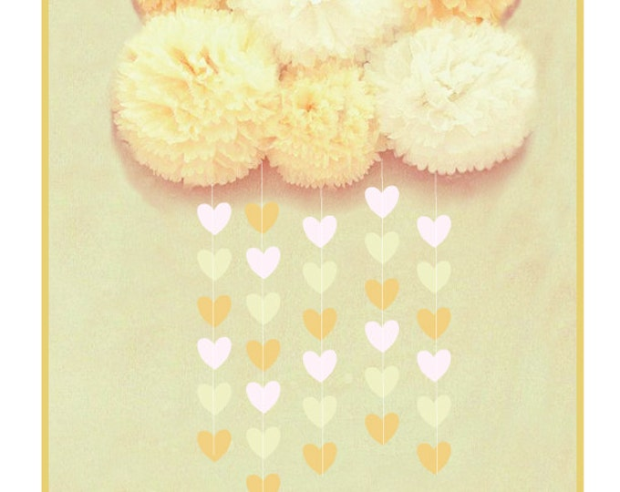 Cloud Baby Shower Decorations, Tissue poms with raindrops, 5 pom pom cloud and heart garland, Baby's room decor, Rain Baby shower decor