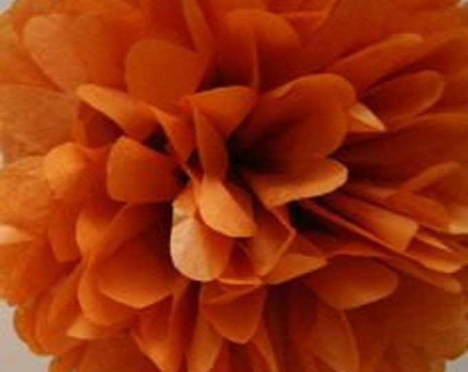 Burnt Orange Tissue Paper Pom, Autumn Orange Pom, Fall Orange Tissue Paper Pom Pom, Orange Paper Flower, Wedding and Birthday Decor