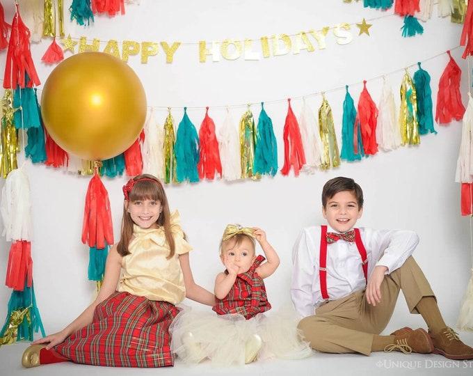 Green and Red Tassel Garland, Holiday Party Decor Ideas, Table, Door Banner, Italian Tissue Tassel garland, Tissue garland metallic gold