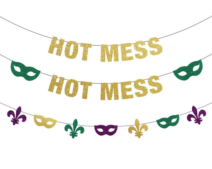 Hot Mess Banner, Mardi Gras Decorations, Mardi Gras Banner, Mardi Gras Bachelorette, Mardi Gras Backdrop, Fat Tuesday, Mardi Gras