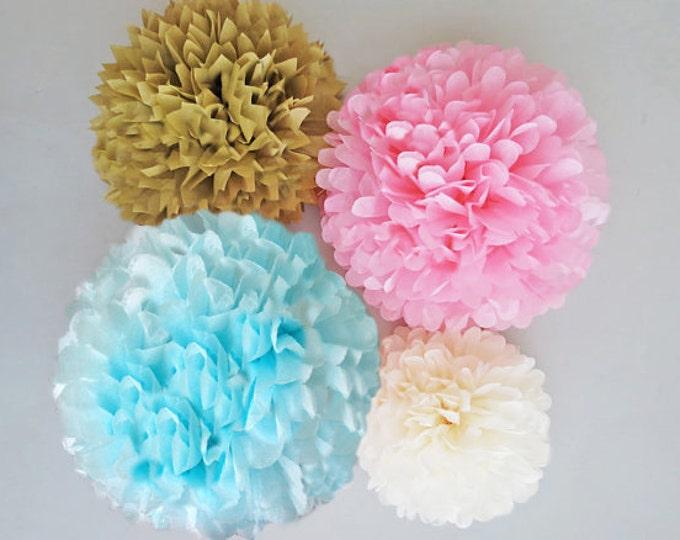 Gender Reveal Decorations, Light Blue, Pink and  Gold Tissue Paper Pom Poms 4 Piece Set, Gender Reveal Ideas, Nursery, Sister or Brother