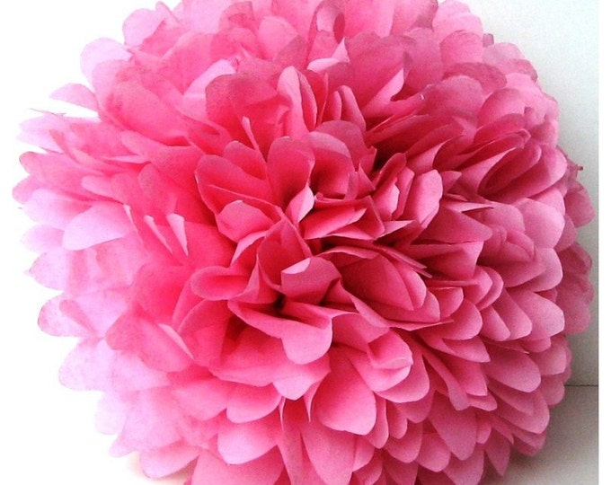 Pink Tissue Paper Pom, Tissue Paper Pom Poms, Pink Pom, Pink Tissue Paper Pom Pom, Pink Paper Flower, Medium Pink Pom, Wedding Decor