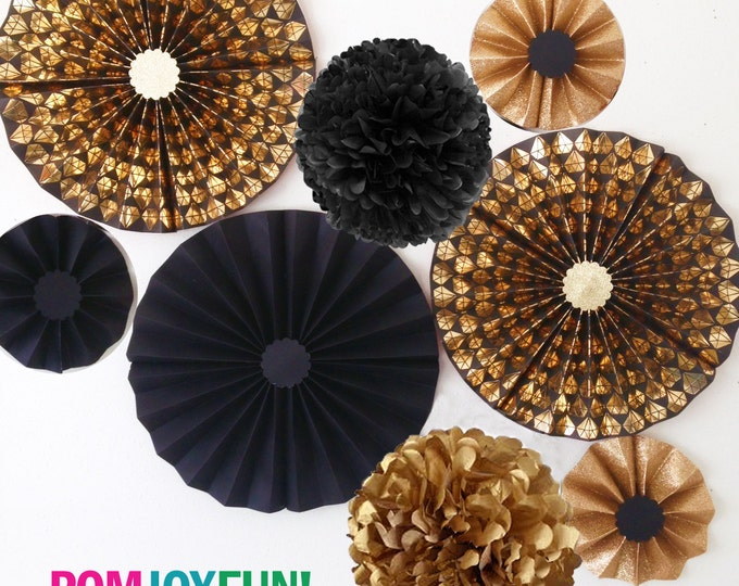 Diamond Party decorations, Black and Gold DIAMOND Rosettes  Black and Gold Party Fans, Pom Wheel, Rosettes Black Paper Medallion, Diamond