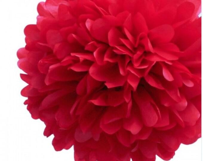 Red Tissue Paper Pom, Red Pom, Red Tissue Paper Pom Pom, Red Paper Flower, Tissue Flower, Wedding and Birthday Party Decor, Poms