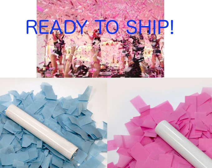Confetti Cannon, Popper, Gender Reveal Flick Stick, Gender Reveal Ideas, Gender Reveal Confetti Launchers, Pink and Blue Boy or Girl Party