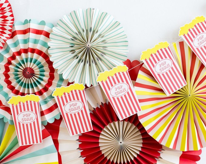 Popcorn Banner, Movie Night Party Banner, Carnival Banner, Circus Themed Party, Carnival Birthday Banner,Popcorn Bag Banner, Circus Theme