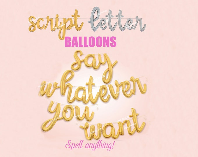 Script Letter Balloon, Custom Cursive Balloon Lettering, Silver and Gold  One, Two, Three, Four Balloon, Baby shower, Bridal, Gender Reveal