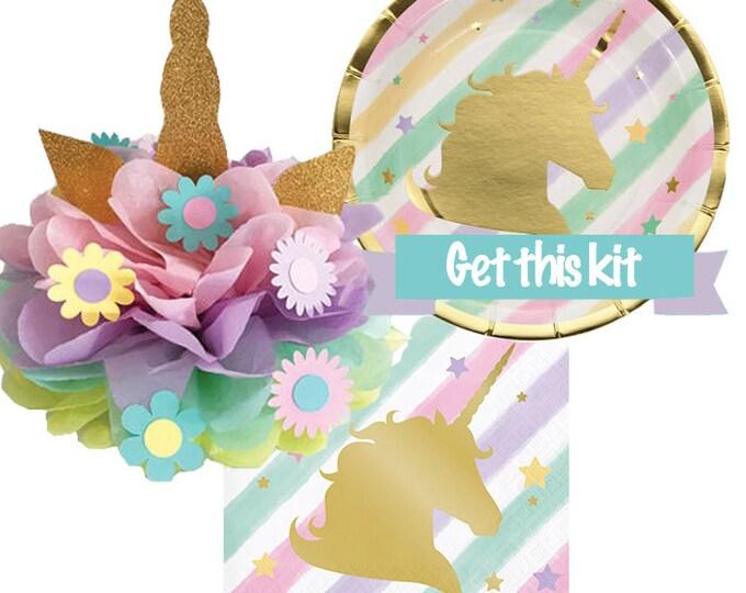Unicorn Plates, Napkins, Centerpieces and table decor, Party Supplies, Unicorn Cake Topper, Unicorn Birthday kit, Unicorn Pastel Decorations