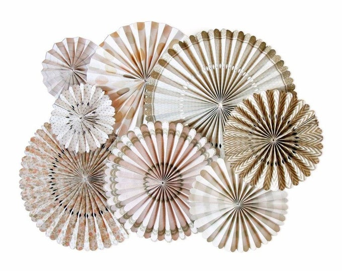 Vintage Party Fans, Blush rosettes, Peach, Gold Paper Medallions for Weddings, baby shower First Birthdays,party decorations, kids room