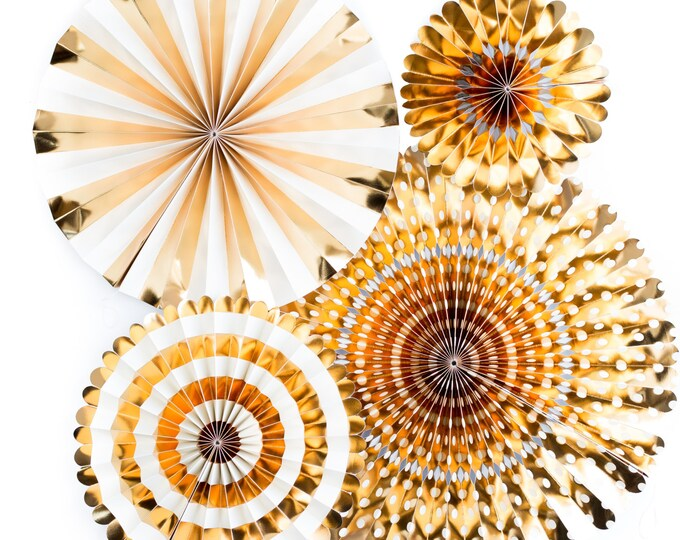 Gold Rosettes, Christmas Gold Party Fans Gold, Metallic Gold Pom Wheel, New Years Paper Medallions,  Ivory and Gold Foil Paper Fans Pinwheel