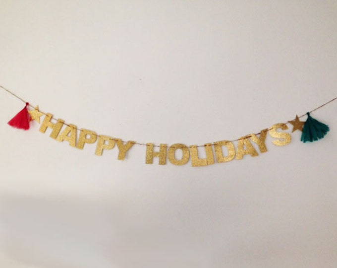 Happy Holidays Banner, Holiday Decoration Holiday Photo Prop, Happy New Year, Happy Hanukka, Merry Christmas, Christmas Party Banner