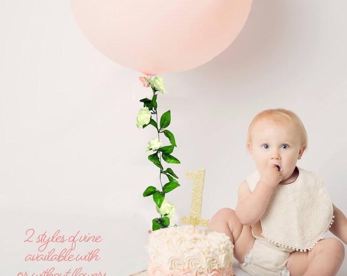 """Balloon flower garland,Ivy trailing flower vine, First Birthday Decor, Wedding Balloon, 36"""" Round Jumbo, Giant Tassel Vine Balloon"""