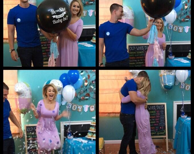 """Gender Reveal Balloon Kit, He or She Gender Reveal Balloon, 36"""" JUMBO BIG Balloon, Gender Reveal Ideas, Confetti Balloon"""