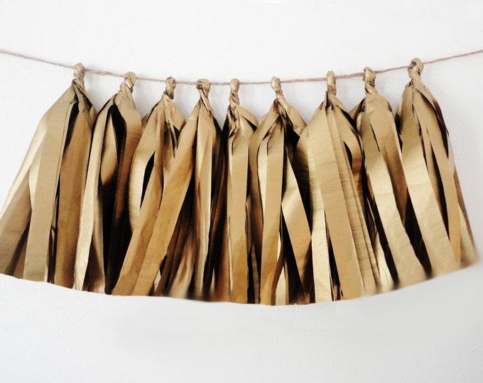 Gold Tassel garland, Gold Garland, antique gold Tissue tassel garland, Tissue antique gold,  Gold Birthday Decor, Gold Wedding Decor, Baby