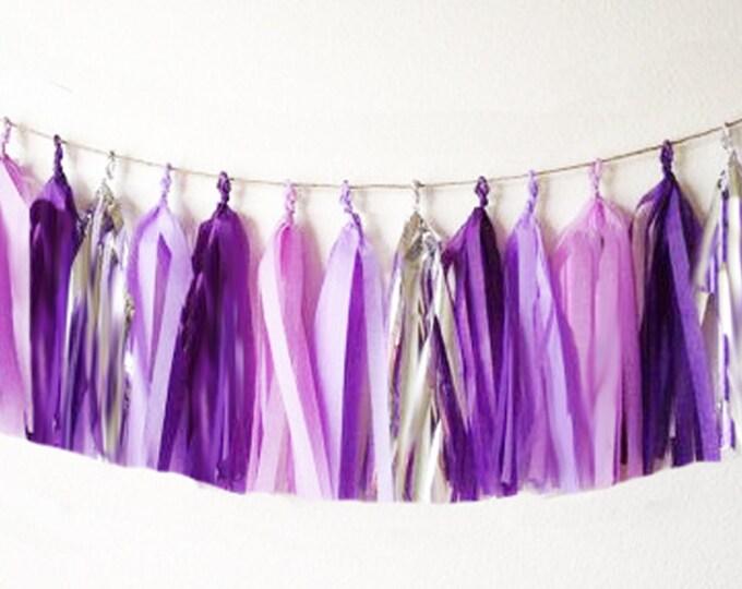 Tissue tassel garland in purple, lilac, pink, and metallic silver | Tissue paper tassel | Birthday | Wedding | Baby shower