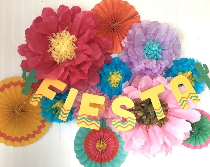 Fiesta Decorations, Fiesta Party, Cinco De Mayo Decorations, Taco bout a Party decor, Paper Flowers, Fiesta Bachelorette Party, Rosettes