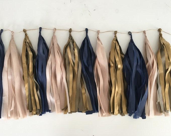 Tissue paper tassel garland in Navy Blue, Antique Gold and Blush, Birthday Decor, Wedding Decor, Dark Blue Tassels