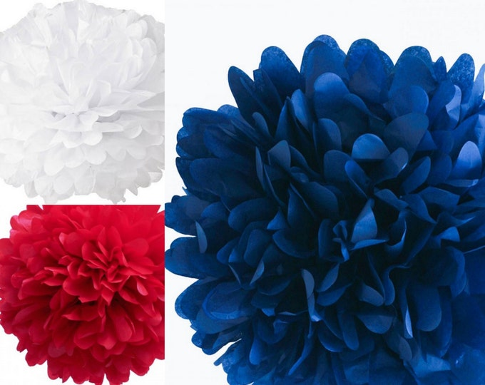 "Red, white and blue Pom Set, Set of three 18"" tissue paper pom poms, red, white and blue tissue poms, Fourth of July Decorations"