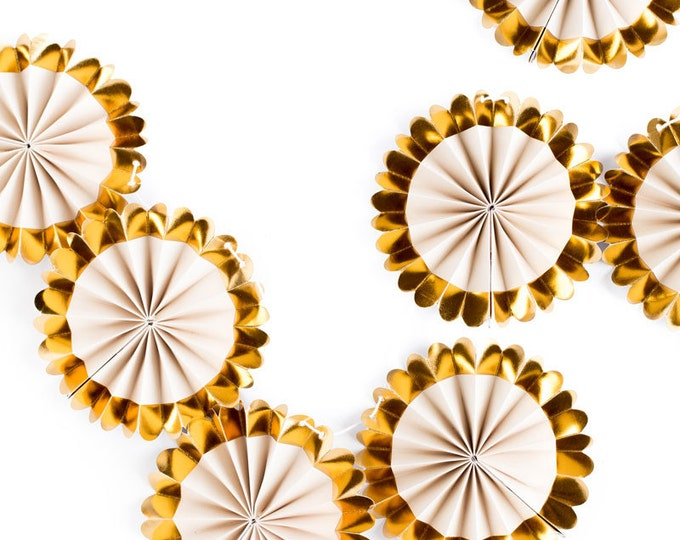 Gold Rosettes Banner Fancy Mini Rosette Banner, Wedding Garland, Min Fan Garland FYP104, Metallic Gold and Ivory Rosettes