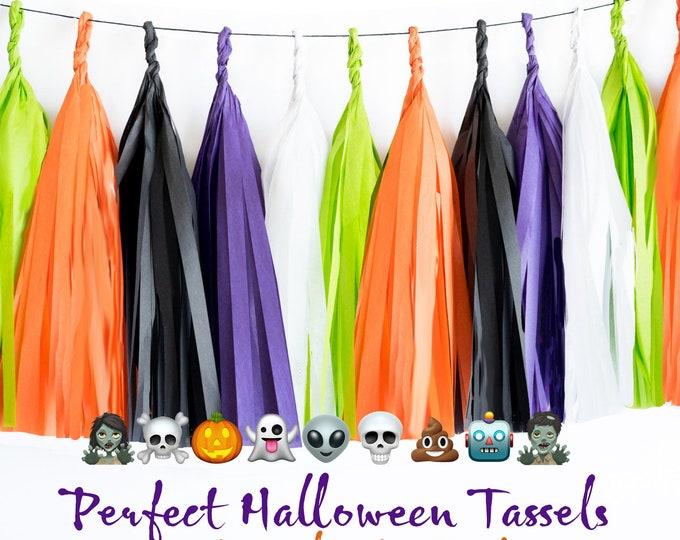 Halloween Tassel garland, Halloween Decor, Halloween Tassels in Orange, Black, Purple, Lime Green, Halloween Banner, Halloween Decorations