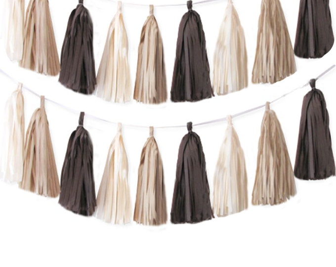 Tissue tassel garland in brown, ivory, and khaki, Brown Tassels, Khaki Tissue paper tassel, Fall tassel garland, Beige garland