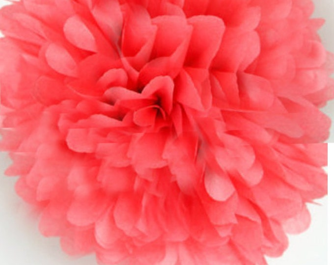 Coral Pink Tissue Paper Pom, Coral Pink Pom, Coral Tissue Paper Pom Pom, Coral Paper Flower, Tissue Flower, Wedding and Birthday Party Decor