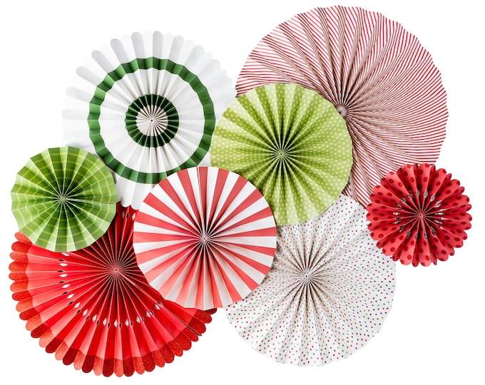 Christmas rosettes, Holiday Decorations and Backdrops, fan set in Red, Green and White Party Ideas, Pom Wheel, Paper Medallions Pinwheel