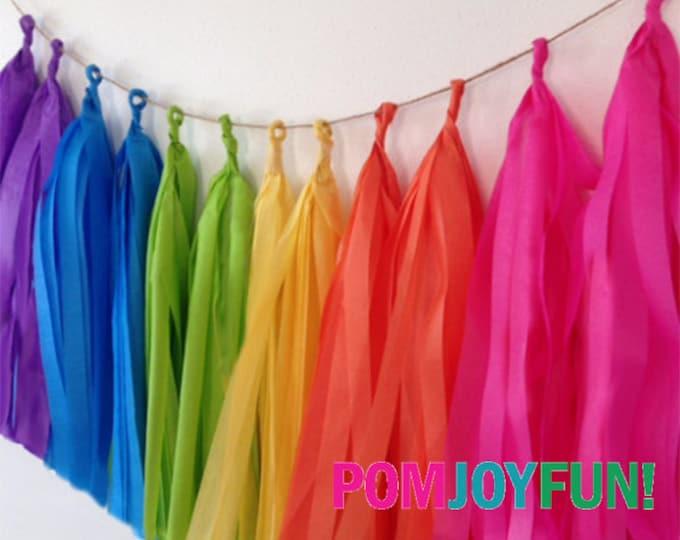 Rainbow Party Decorations, Tissue tassel garland already made rainbow tissue paper tassel, Rainbow Tassel Pom Pom Garland, Rainbow Baby Deco