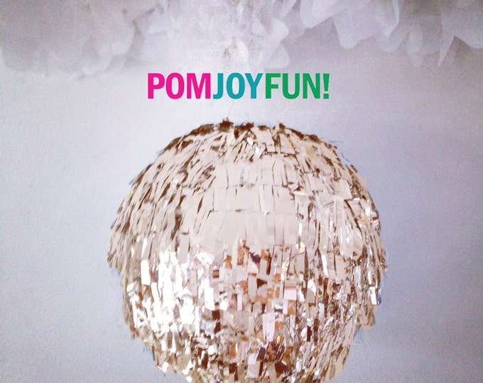 Piñata, Gender Reveal, HUGE Fringe Piñata, Gold Birthday Piñata, Baby Shower Piñata Fringe Wedding Card Box, Round Pinata Metallic