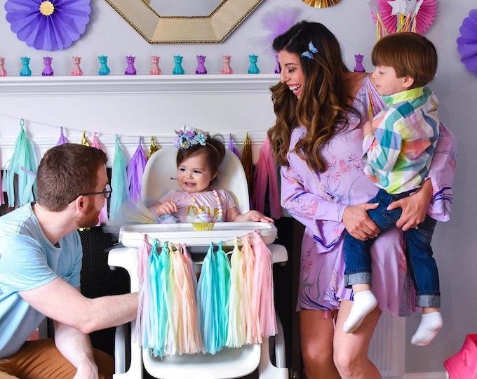 High Chair Banner Girl Pink and Silver Pastel Rainbow Decorations, unicorn first birthday skirt fir tray tutu garland baby shower decor