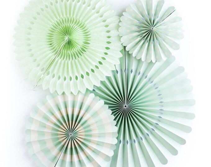 Mint Party Fans, Mint Pom Wheel, Mint  Rosettes, Mint Paper Medallions, Mint and Ivory Paper Fans, Mint paper Pinwheel, Mint Backdrop