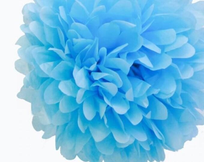 Sky Blue Tissue Paper Pom, Sky Blue Pom, Light Blue Tissue Paper Pom Pom, Light Blue Paper Flower, Tissue Flower, Wedding and Birthday Decor