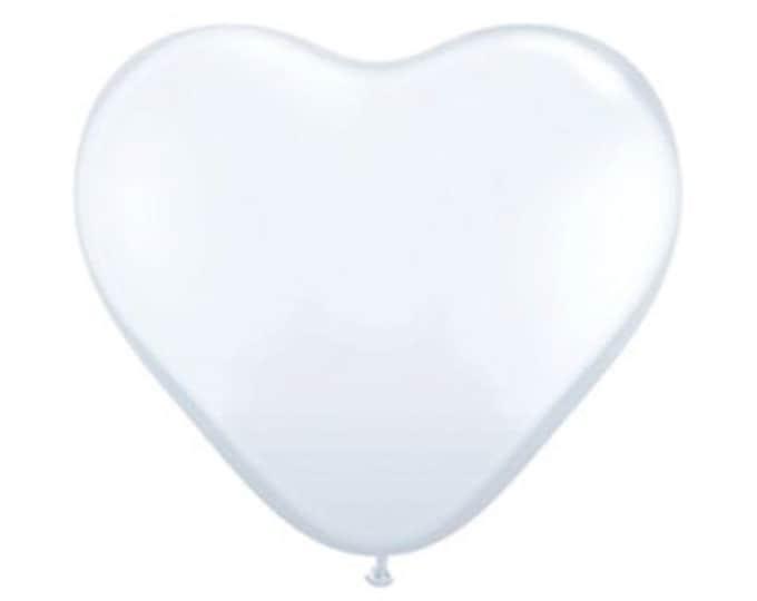 """Giant White HEART Balloon 36"""" Inch, Valentine's Day, Wedding, Baby Shower, Bridal Shower, Birthday"""