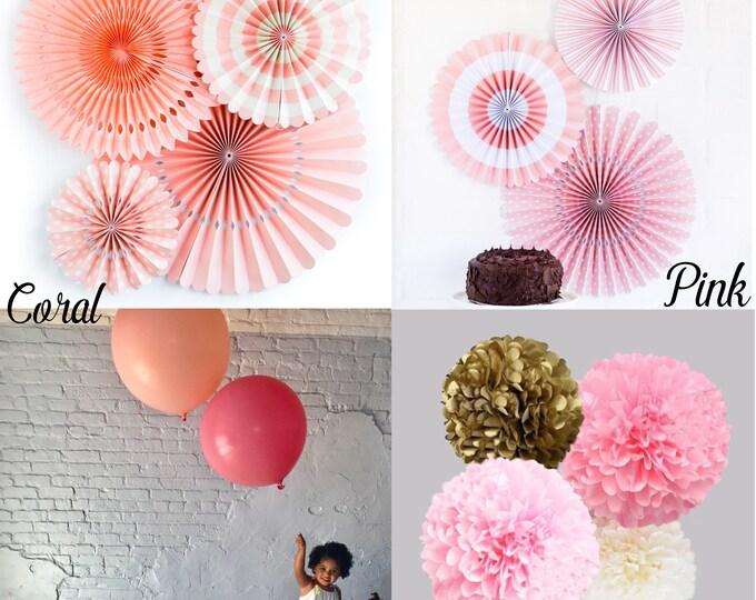 Party Fans Pink, Light Pink Paper Rosettes, Ballet Pink Pom Wheel, Princess Party Fans,  Backdrop, Photo shoot, Blush Fan Ballet Pink