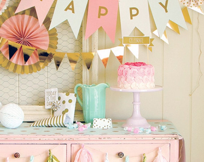 Letter Banner, Personalized Banner, Wedding Garland,  Pink and Gold Pennant Banner, Gold Foil, TRP005, Birthday Party Banner,Shower Bunting