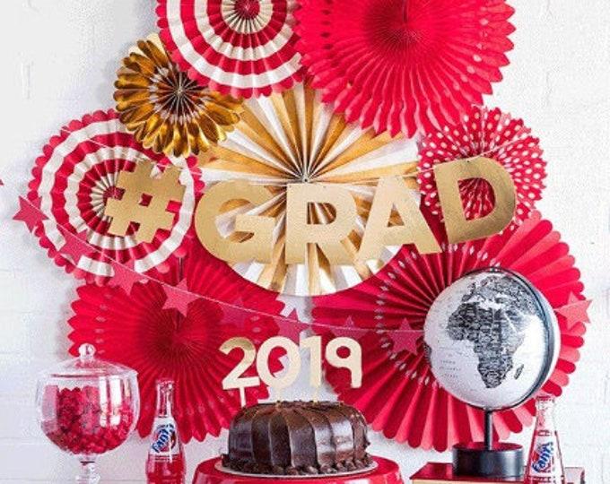 Graduation Party Decorations 2019,  Grad Decor Ideas, Cake picks, Signs #GRAD Party Fans in Red, Blue, Green, Orange, Purple Custom Banner