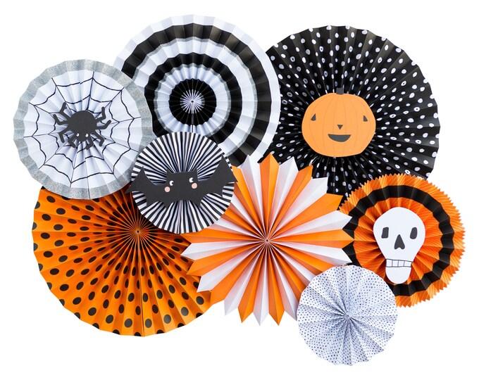 Halloween Party Decor, Halloween Rosettes, Halloween Party Fans, Halloween Pom Wheel, Rosettes, vintage Halloween Decor, Halloween Backdrop