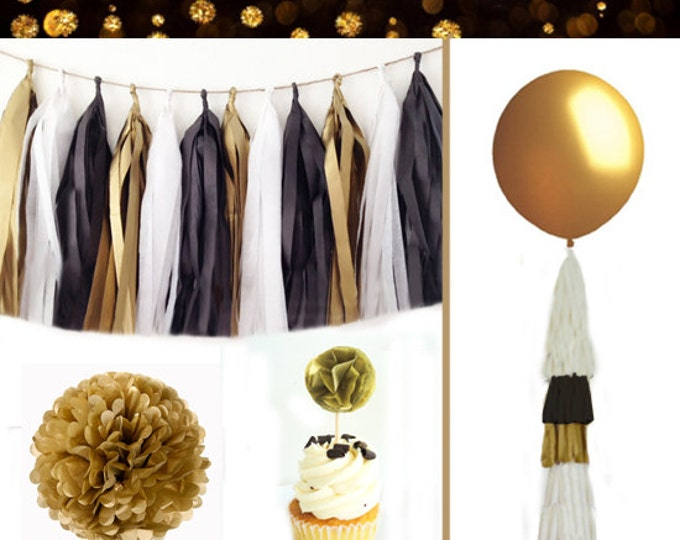New Years Party Kit, New Years party decor, New Years Eve Party Decorations, New years Eve Party balloons, New Years Eve Party, Black & gold