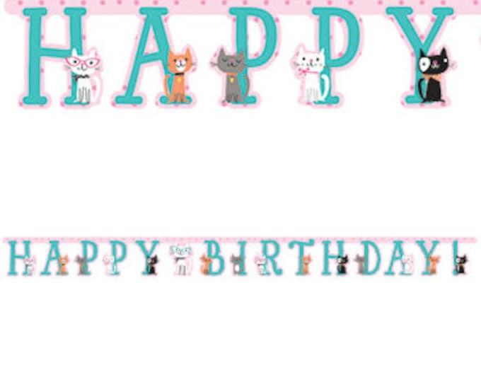 Happy Birthday Cat Banner, Cat Party decorations, Kitty Party Decorations, Kitty Banner, Happy Birthday Banner Cats, Cat Decor, Kitty decor