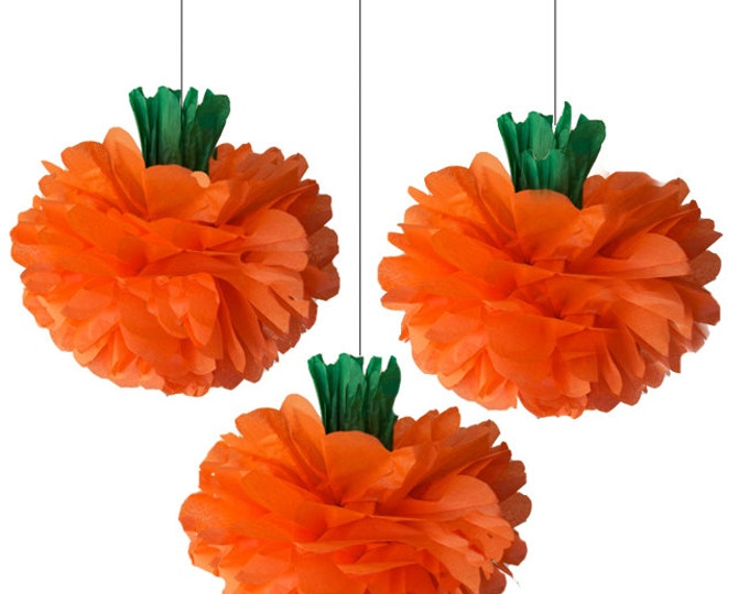 Pumpkin Tissue Paper Poms, 3 Piece Set, Halloween Decorations, Thanksgiving decoration, Pumpkin Decoration, Orange Pom, vintage pumpkins