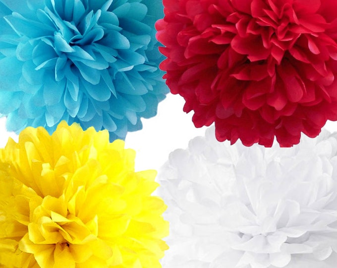 Carnival Party Poms, Carnival Theme Party, Carnival Poms, Yellow Red White Aqua Poms, Carnival Party Decorations, Circus Themed Party Decor