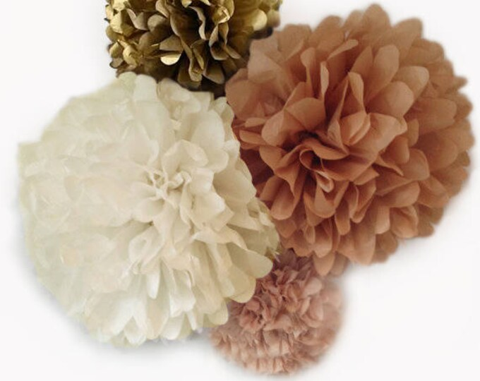 Blush, Ivory, Khaki, Kraft, and Antique Gold Tissue Paper Poms, Blush Wedding Decor, Blushes and Gold Decorations, Blush Birthday