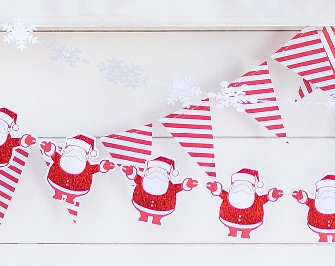 Santa Garland, Santa Claus Banner, Christmas Banner, Red Glitter Santa Claus Banner, Merry Christmas Banner, Santa Claus