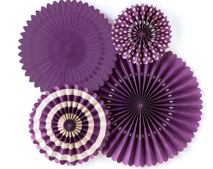 Purple Pom Wheel, Purple Rosettes, Purple Party Decorations, Purple Backdrop, Purple Paper Medallions, Purple Paper Fans, Purple Pinwheel