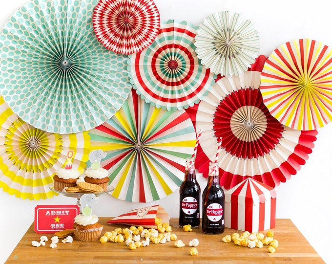 Carnival Themed Party Fans, Circus Themed Party Decor, Aqua and Red Pin Wheel Backdrop, Circus Backdrop Rosettes , Paper Pinwheel