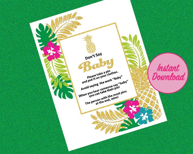 Aloha Baby Don't Say Baby Game, Tropical Hawaii Pineapple Baby Shower Game, Aloha Baby Game Gender Reveal Party Game Ideas Hawaiian theme