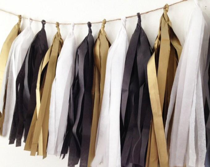 Graduation, Party Decor, Birthday Party Tissue tassel garland, formal tassels, Tissue garland in antique gold, tuxedo black, & white