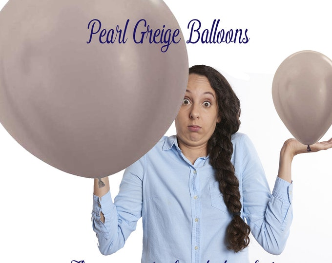 """36""""  Gray Latex Balloon, Jumbo Balloons, Baby Shower Decor, Engagement Party Balloons,  HUGE 36"""" Round Balloon Pearl Greige Party Gray"""